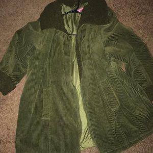 Oversized olive green corduroy jacket.